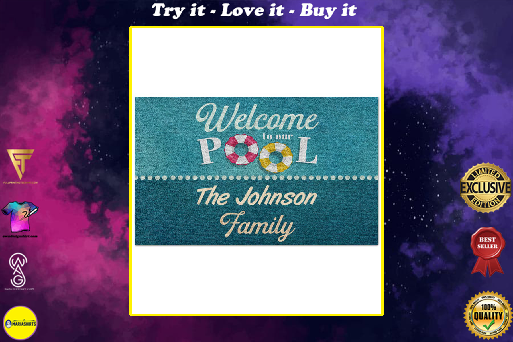 personalized welcome to our pool full printing doormat