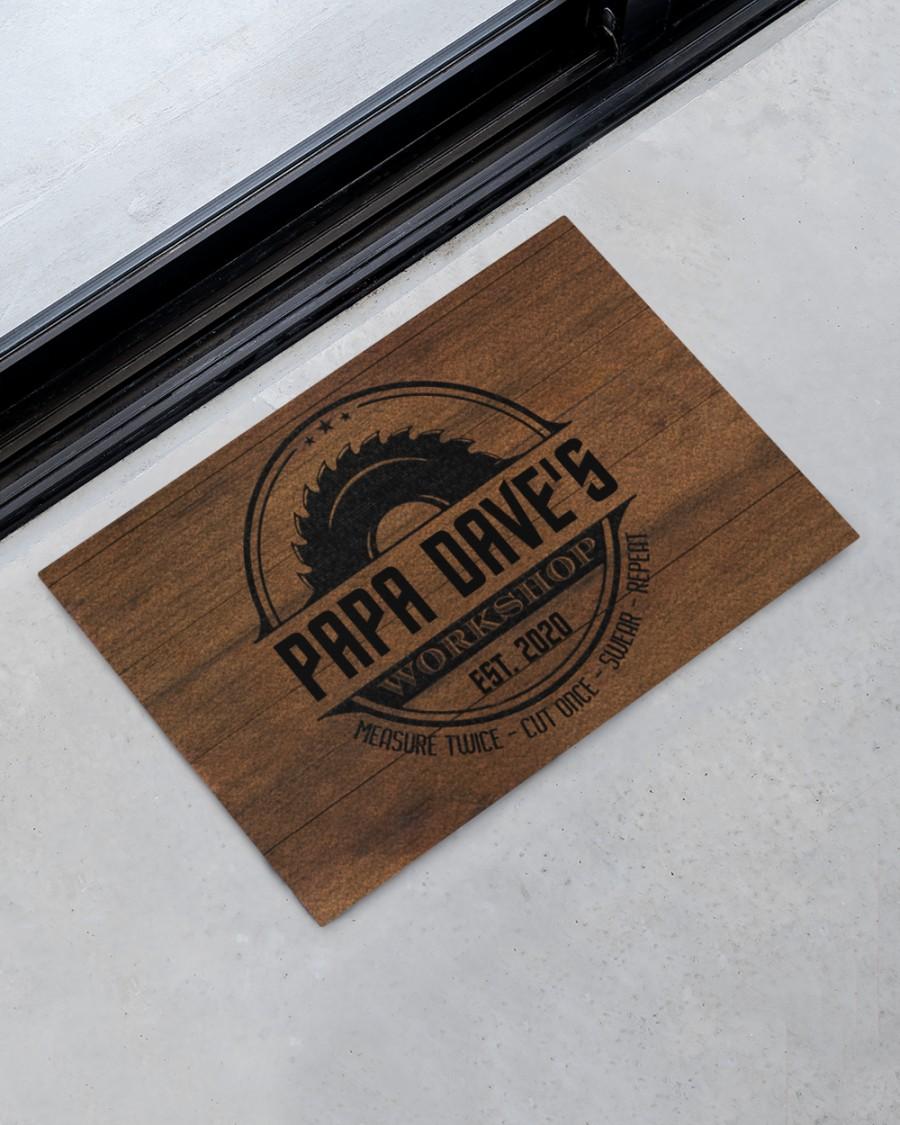 personalized workshop carpenter measure twice cut once full printing doormat 2