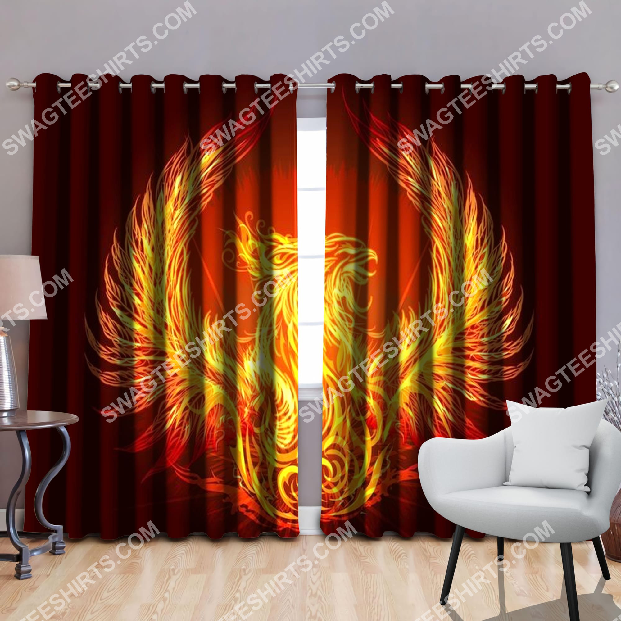 phoenix power with sun all over printed window curtains 2(1)