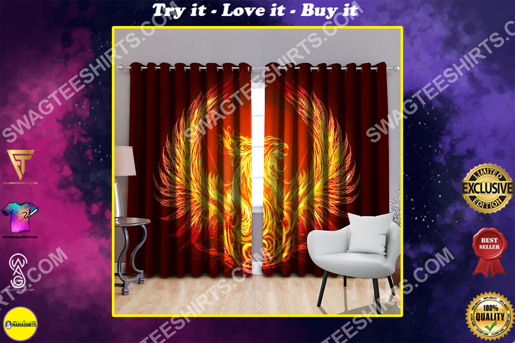 phoenix power with sun all over printed window curtains