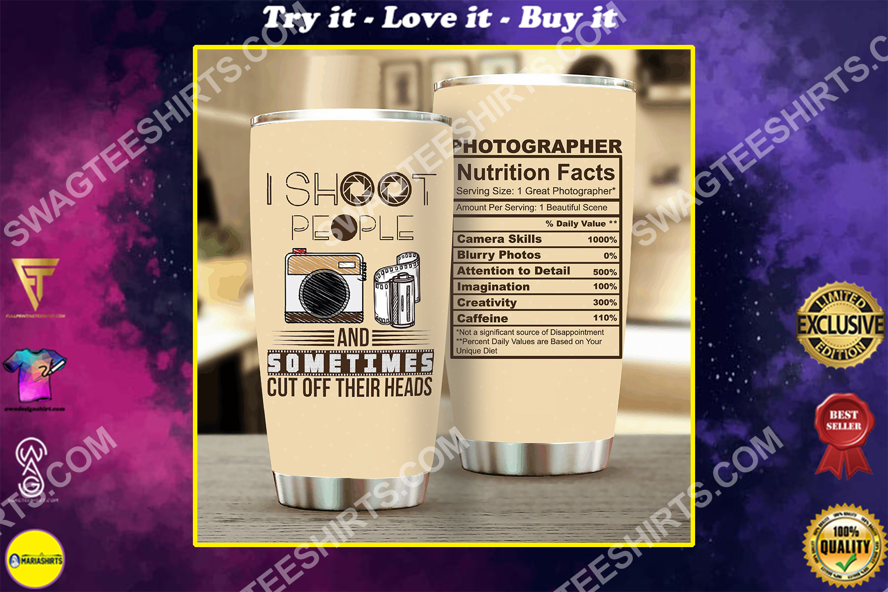 photographer i shoot people all over printed stainless steel tumbler