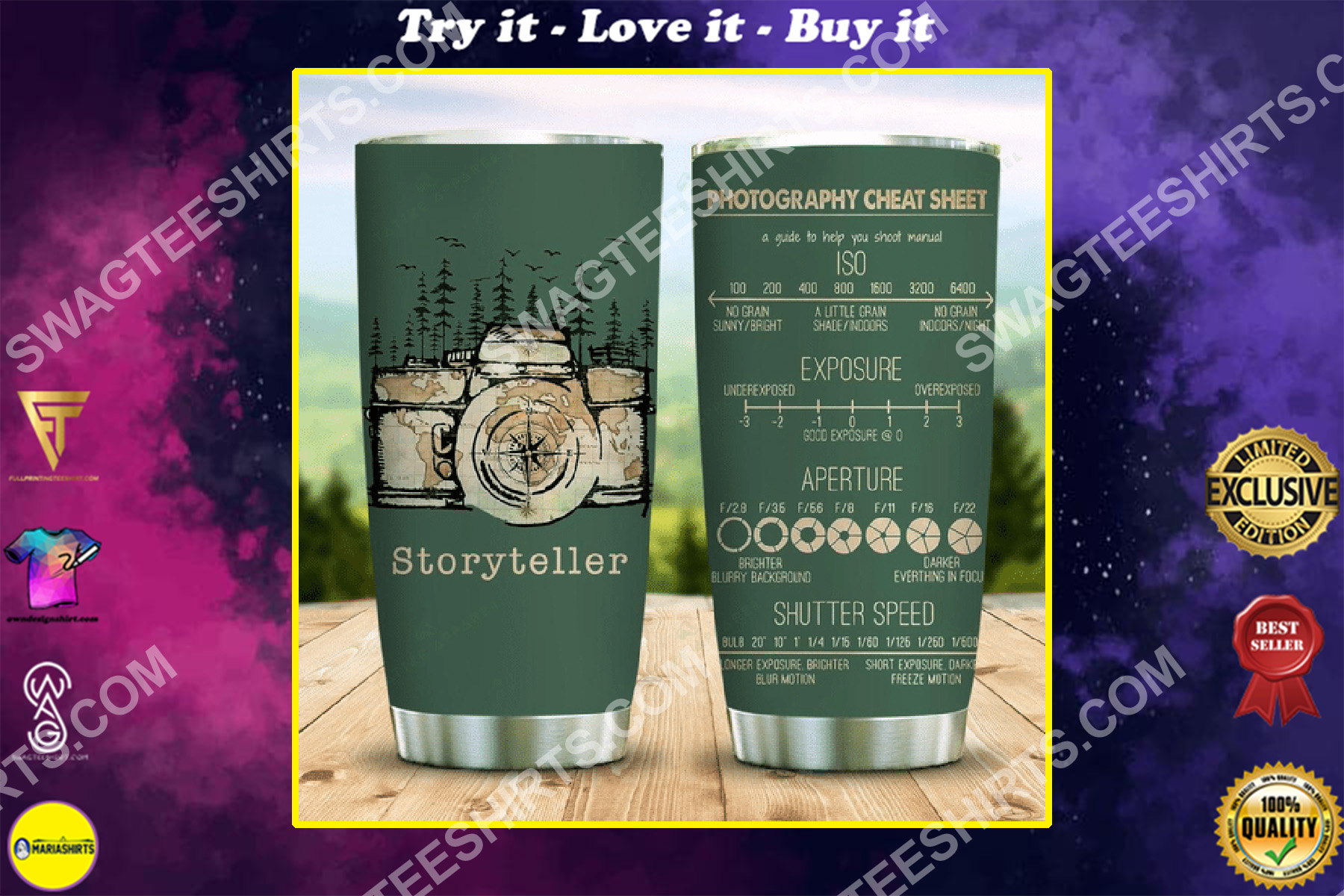 photography cheat sheet all over printed stainless steel tumbler