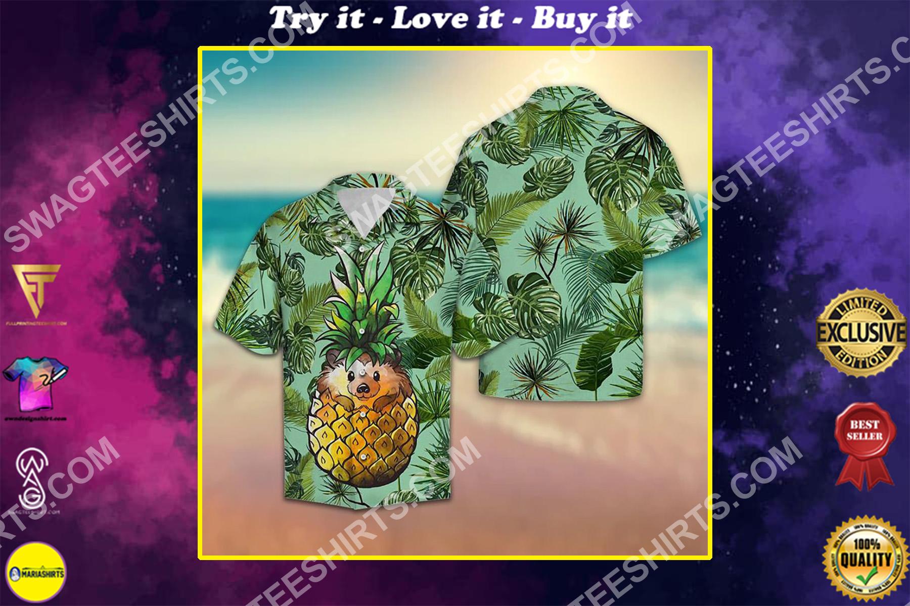 pineapple hedgehog all over printed hawaiian shirt