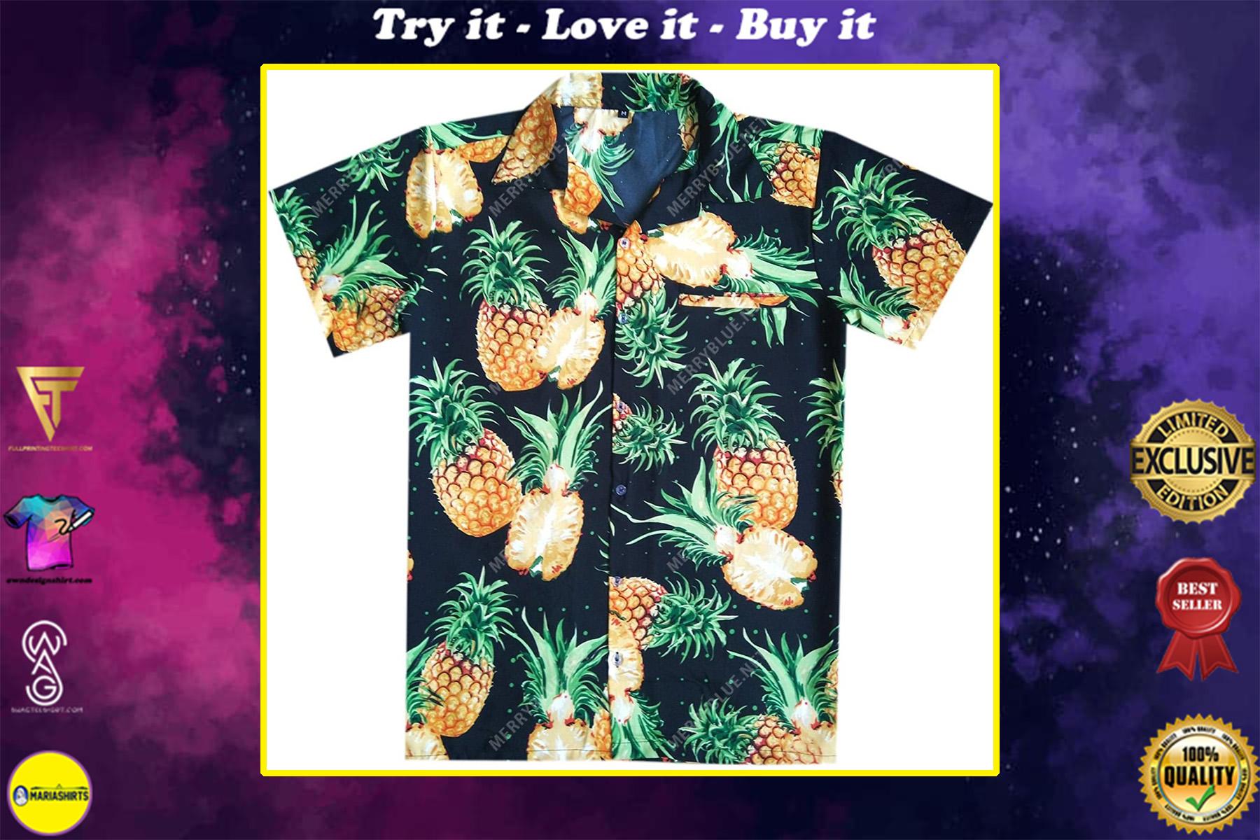 pineapple tropical all over printed hawaiian shirt