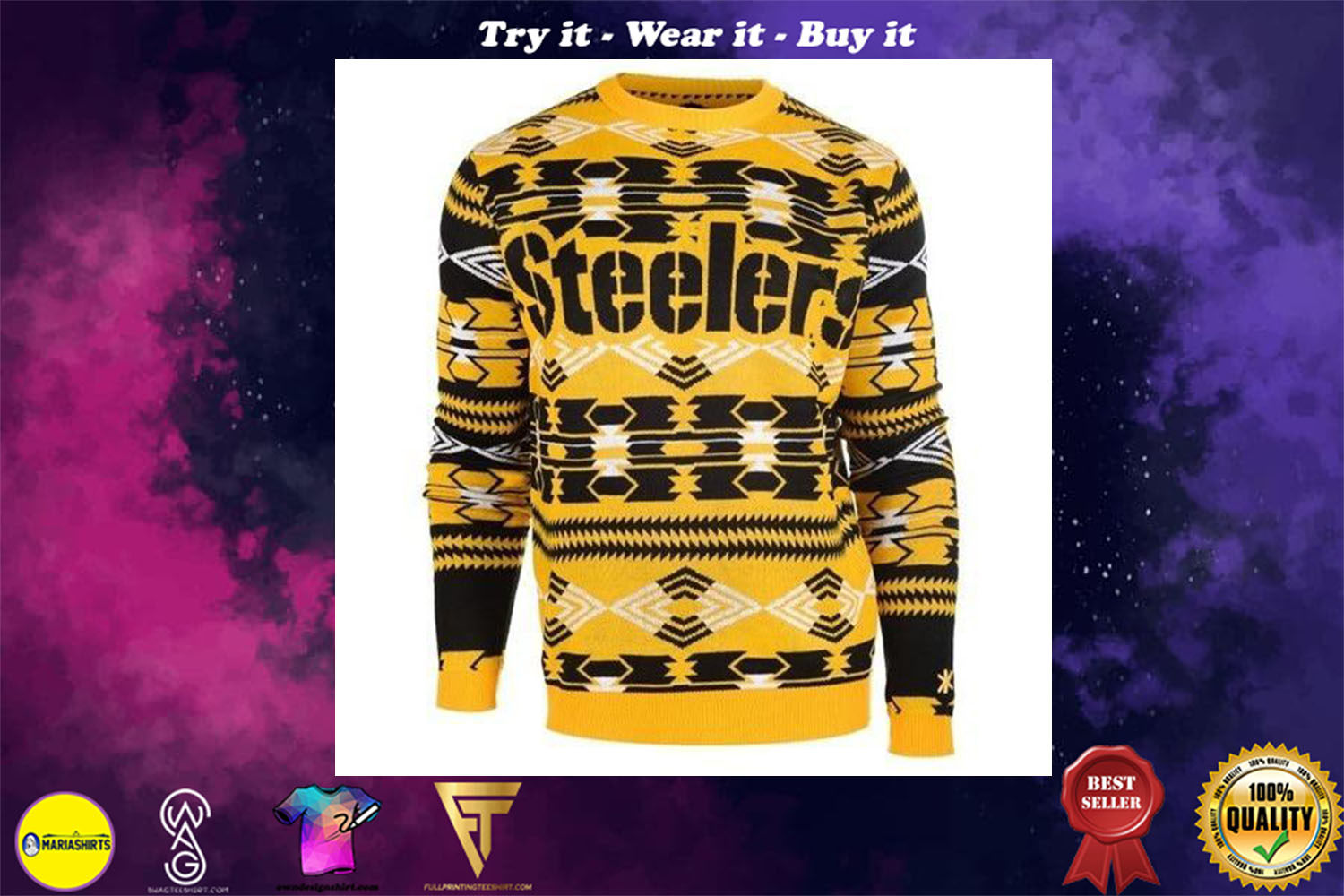 pittsburgh steelers aztec print ugly christmas sweater