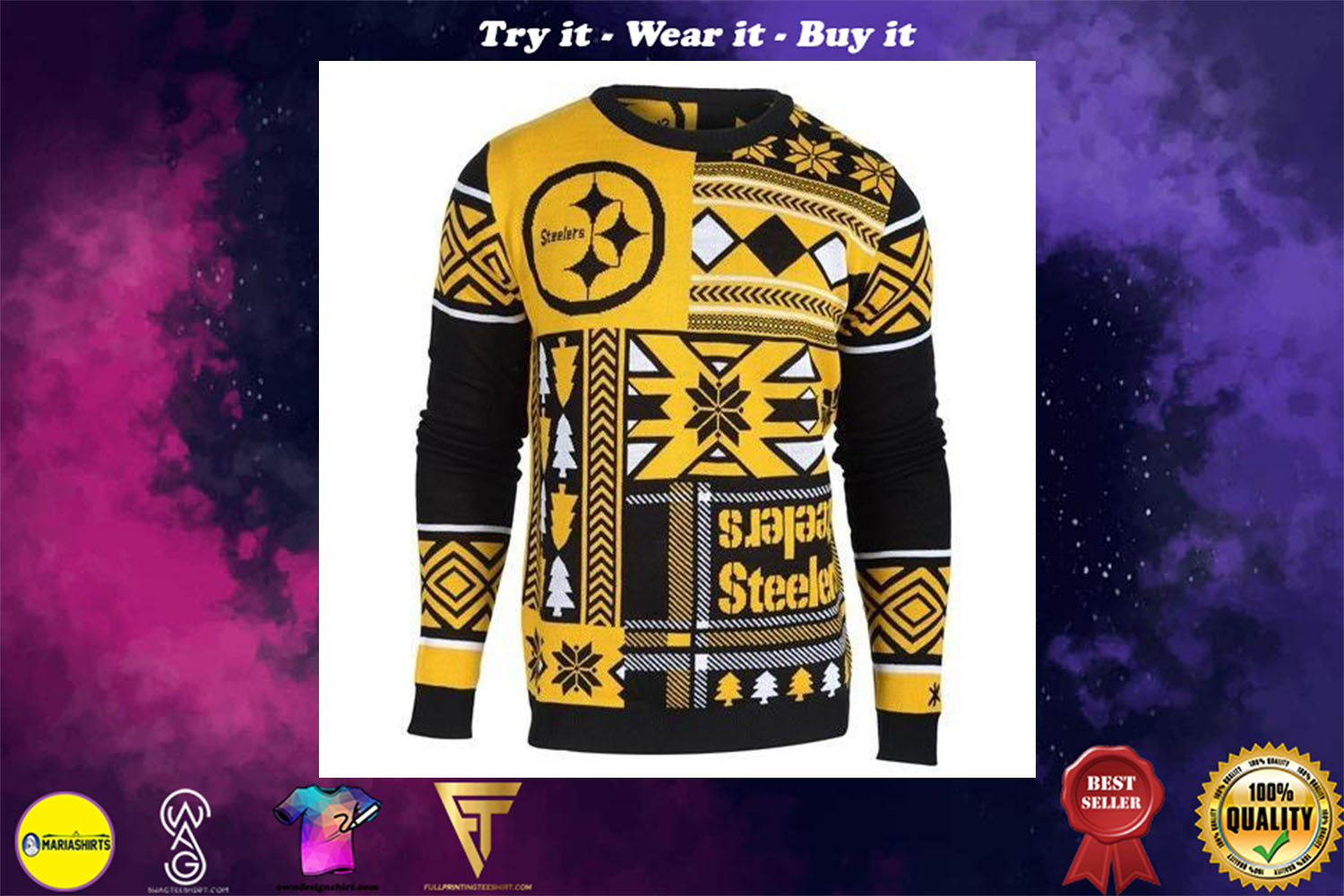 pittsburgh steelers patches ugly christmas sweater