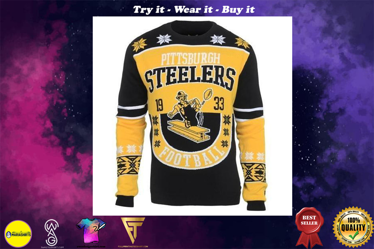 pittsburgh steelers ugly christmas sweater 3