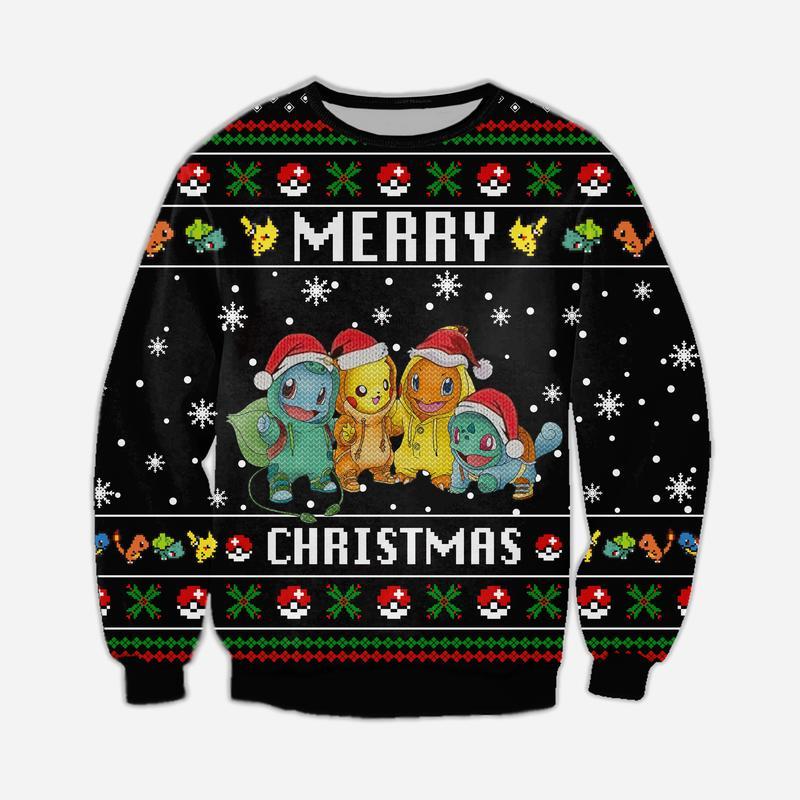 pokemon merry christmas all over printed ugly christmas sweater 2