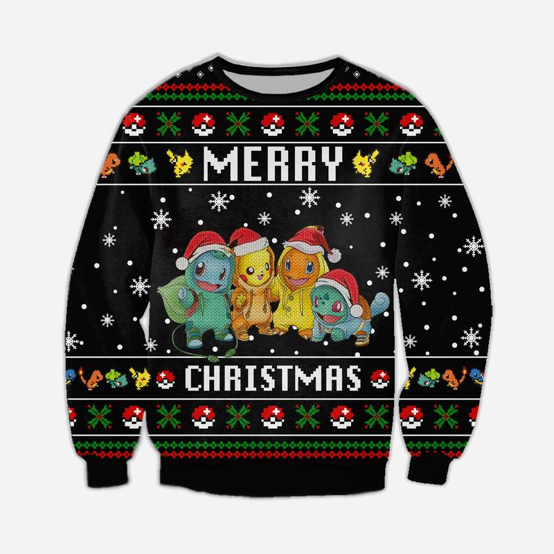 pokemon merry christmas all over printed ugly christmas sweater 5