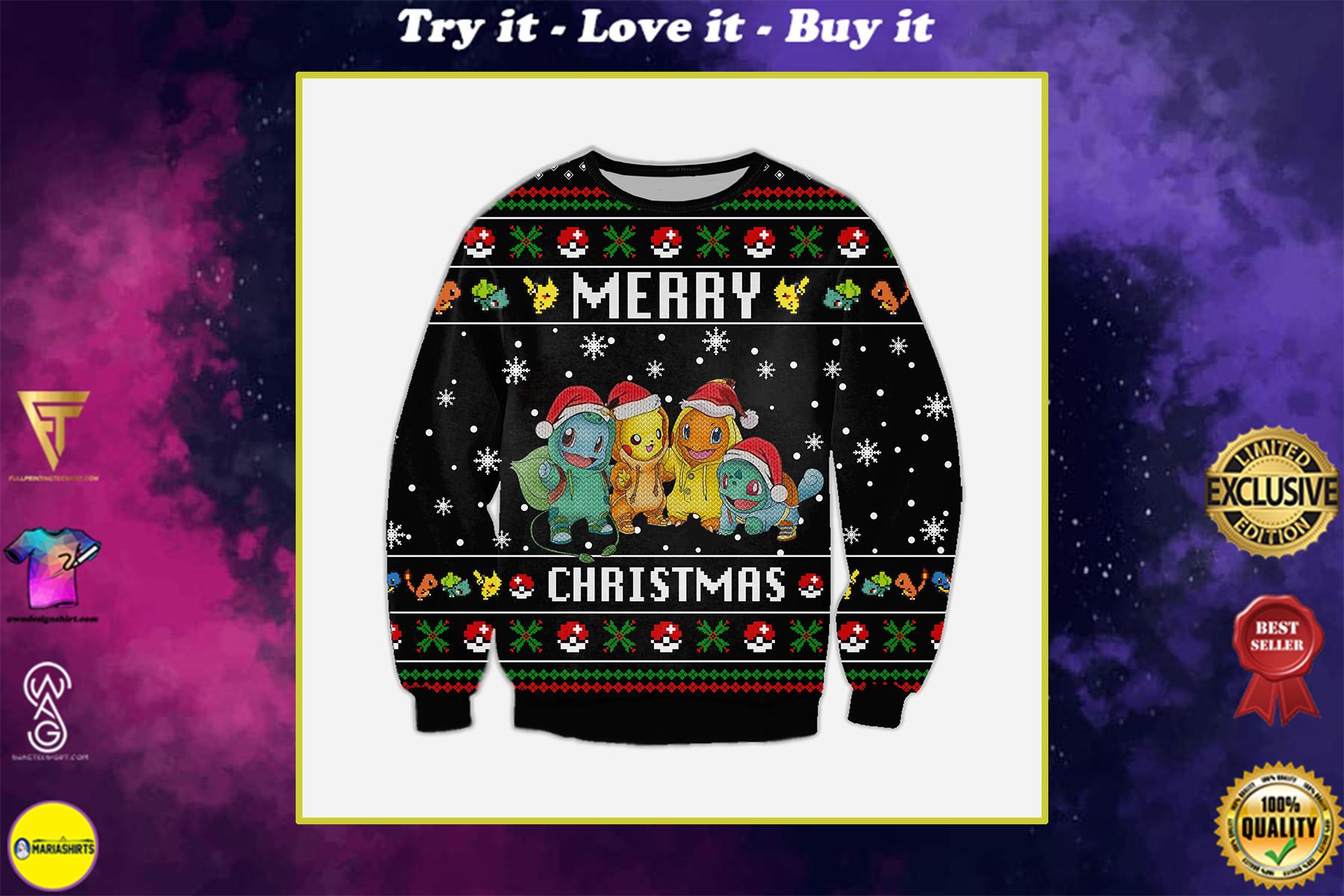 pokemon merry christmas all over printed ugly christmas sweater