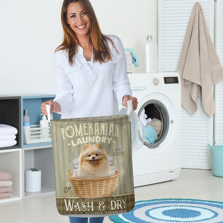 pomeranian wash and dry all over printed laundry basket 5
