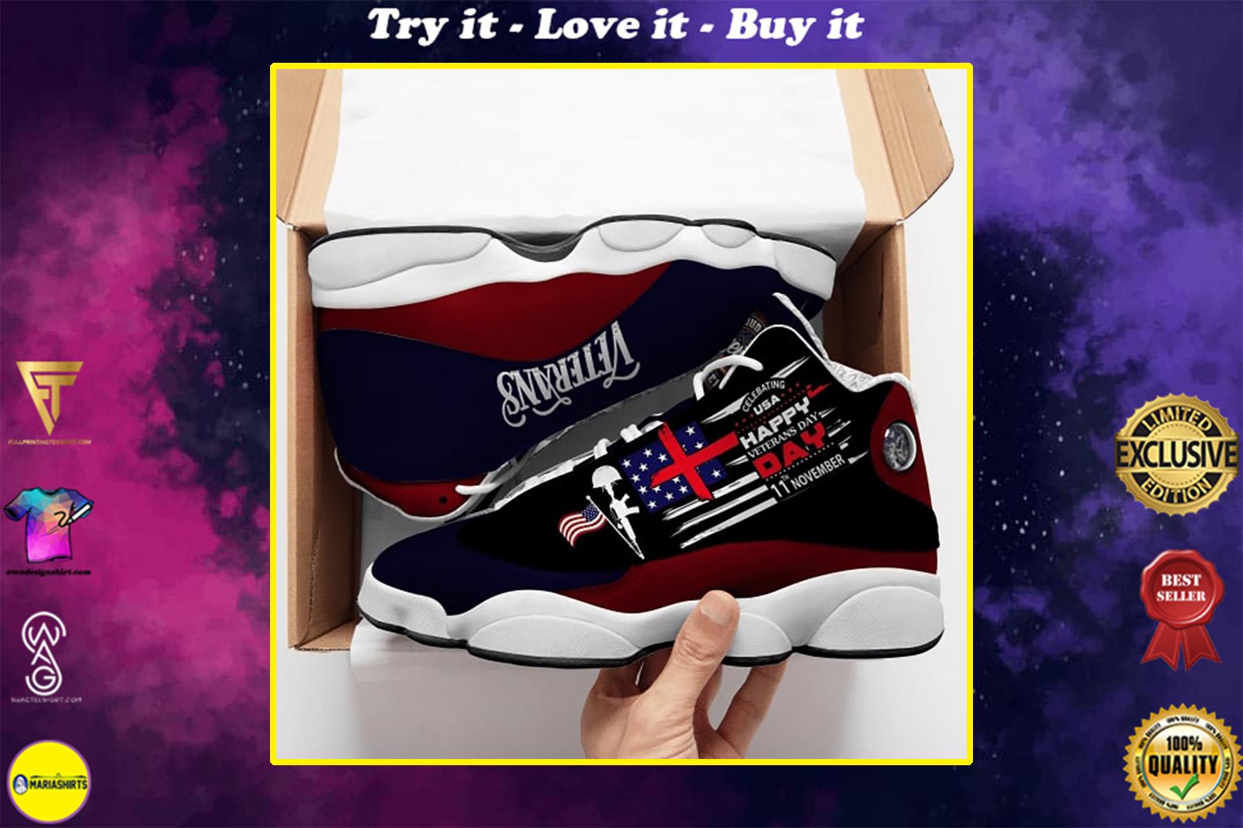 proud to be american veteran all over printed air jordan 13 sneakers