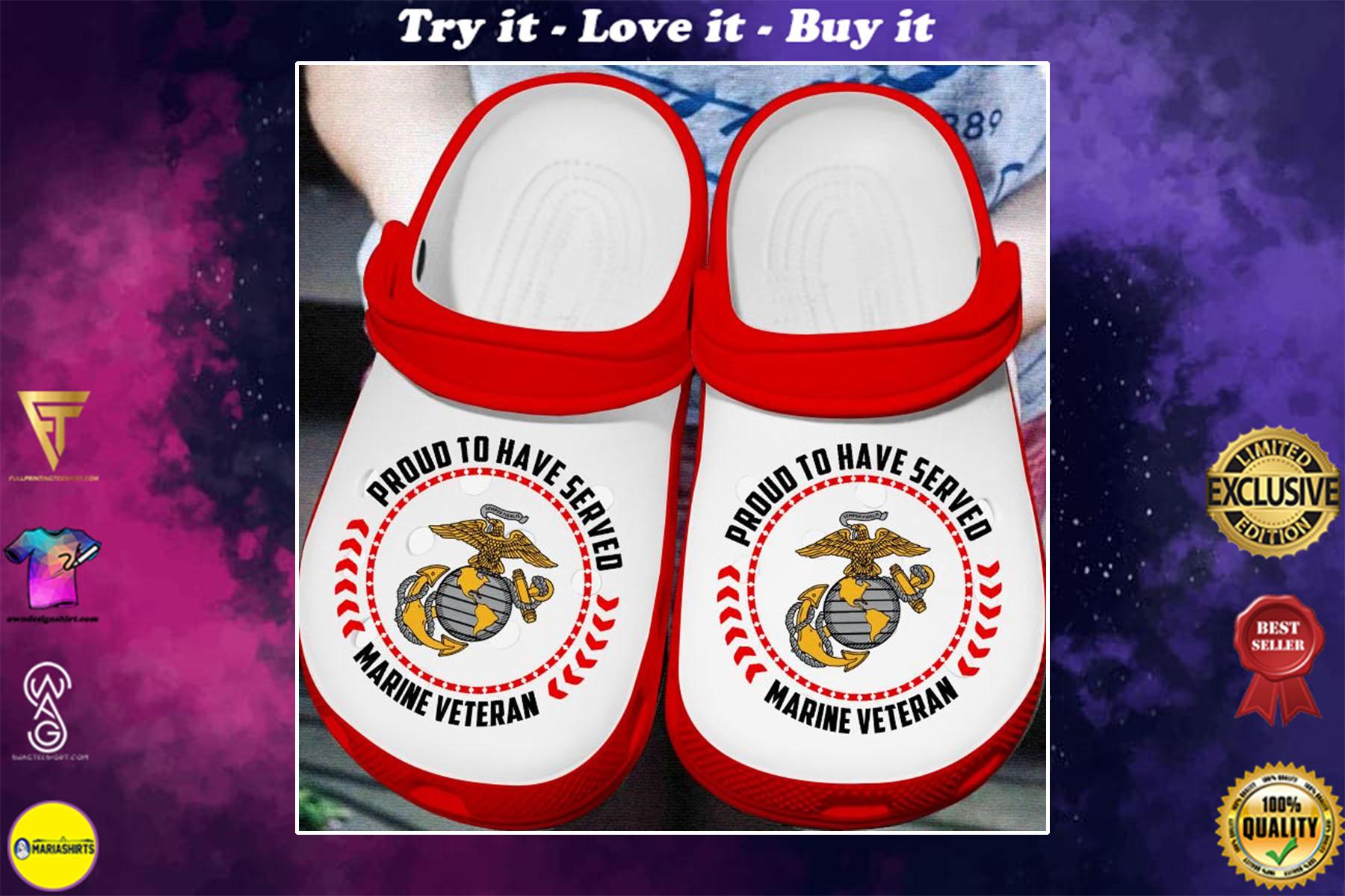 proud to have served marine veteran crocband clog