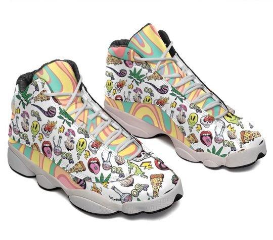 psychedelic drug pattern rainbow all over printed air jordan 13 sneakers 3