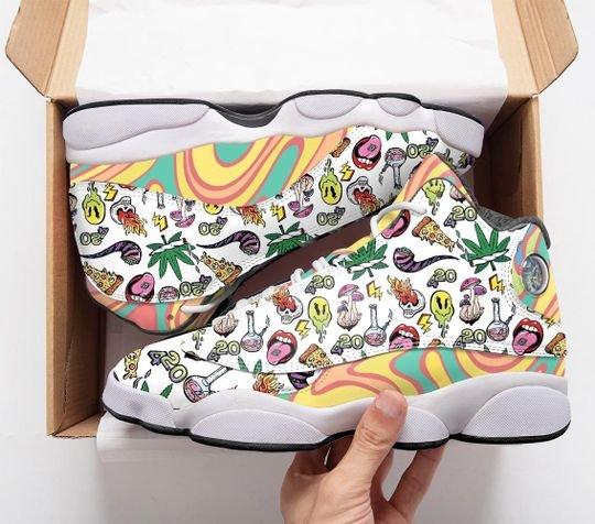 psychedelic drug pattern rainbow all over printed air jordan 13 sneakers 4