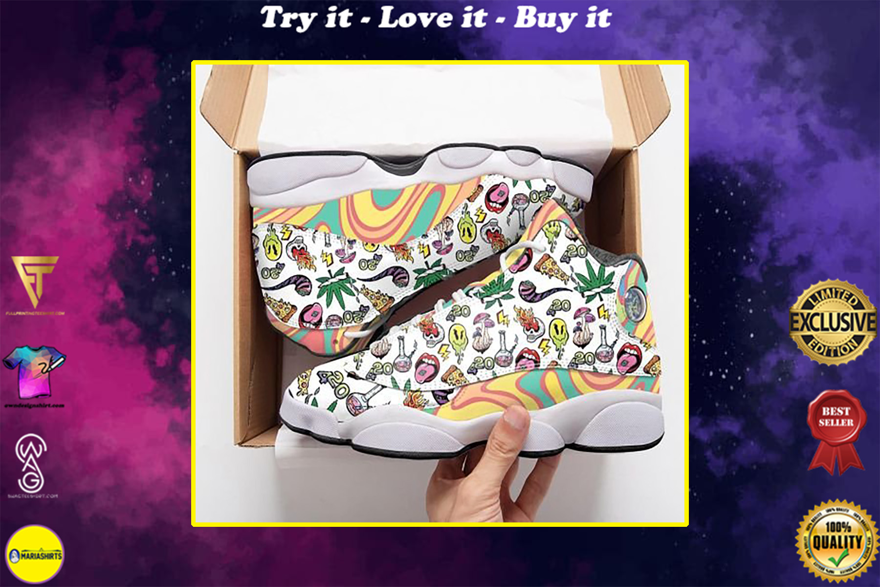 psychedelic drug pattern rainbow all over printed air jordan 13 sneakers