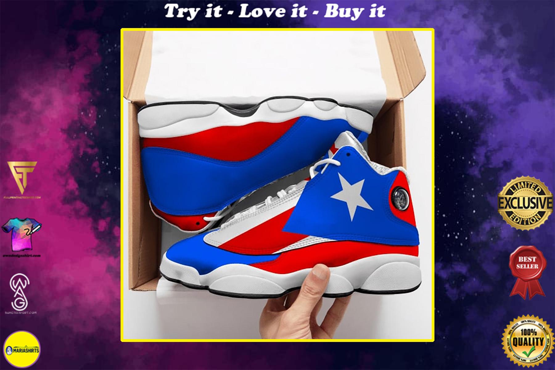 puerto rico flag all over printed air jordan 13 sneakers