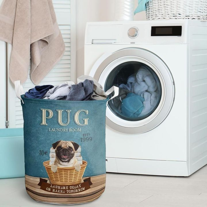 pug laundry room all over print laundry basket 2