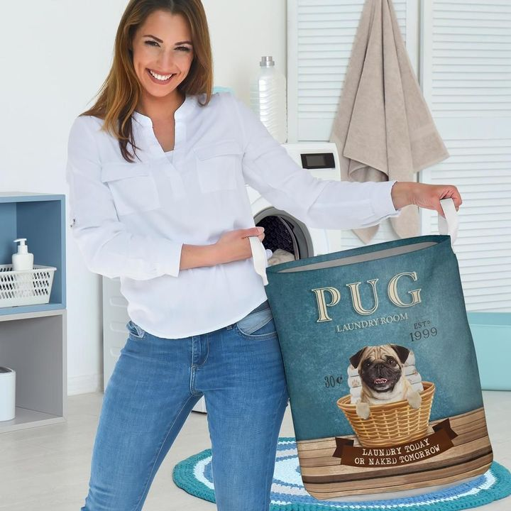 pug laundry room all over print laundry basket 3