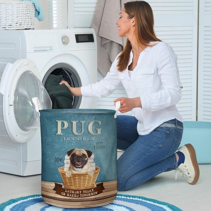 pug laundry room all over print laundry basket 4
