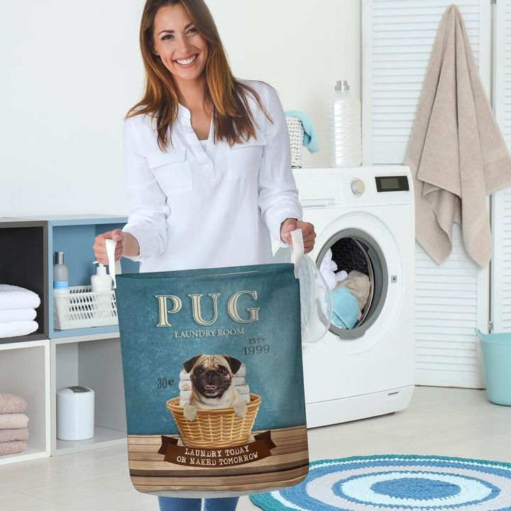 pug laundry room all over print laundry basket 5