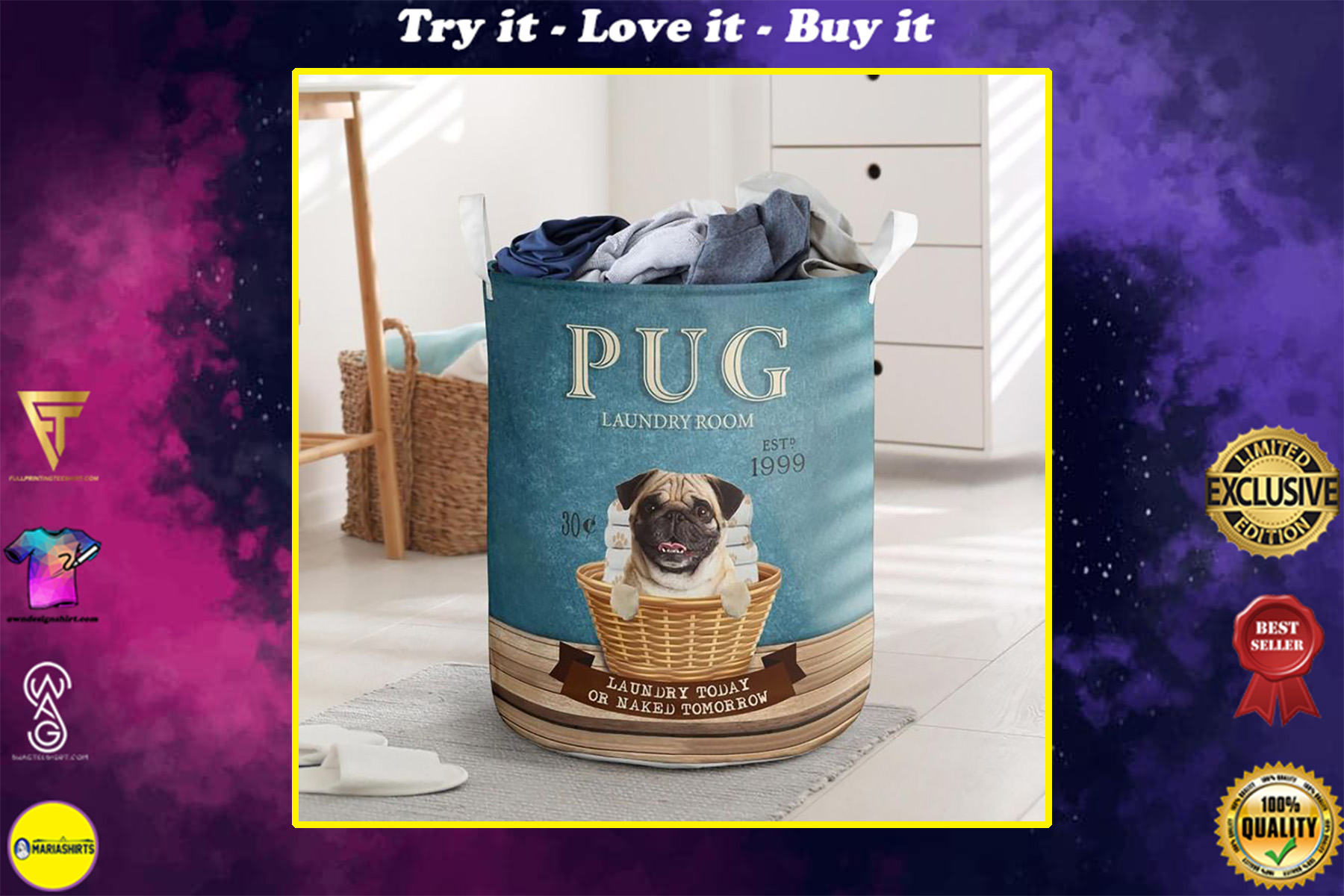 pug laundry room all over print laundry basket
