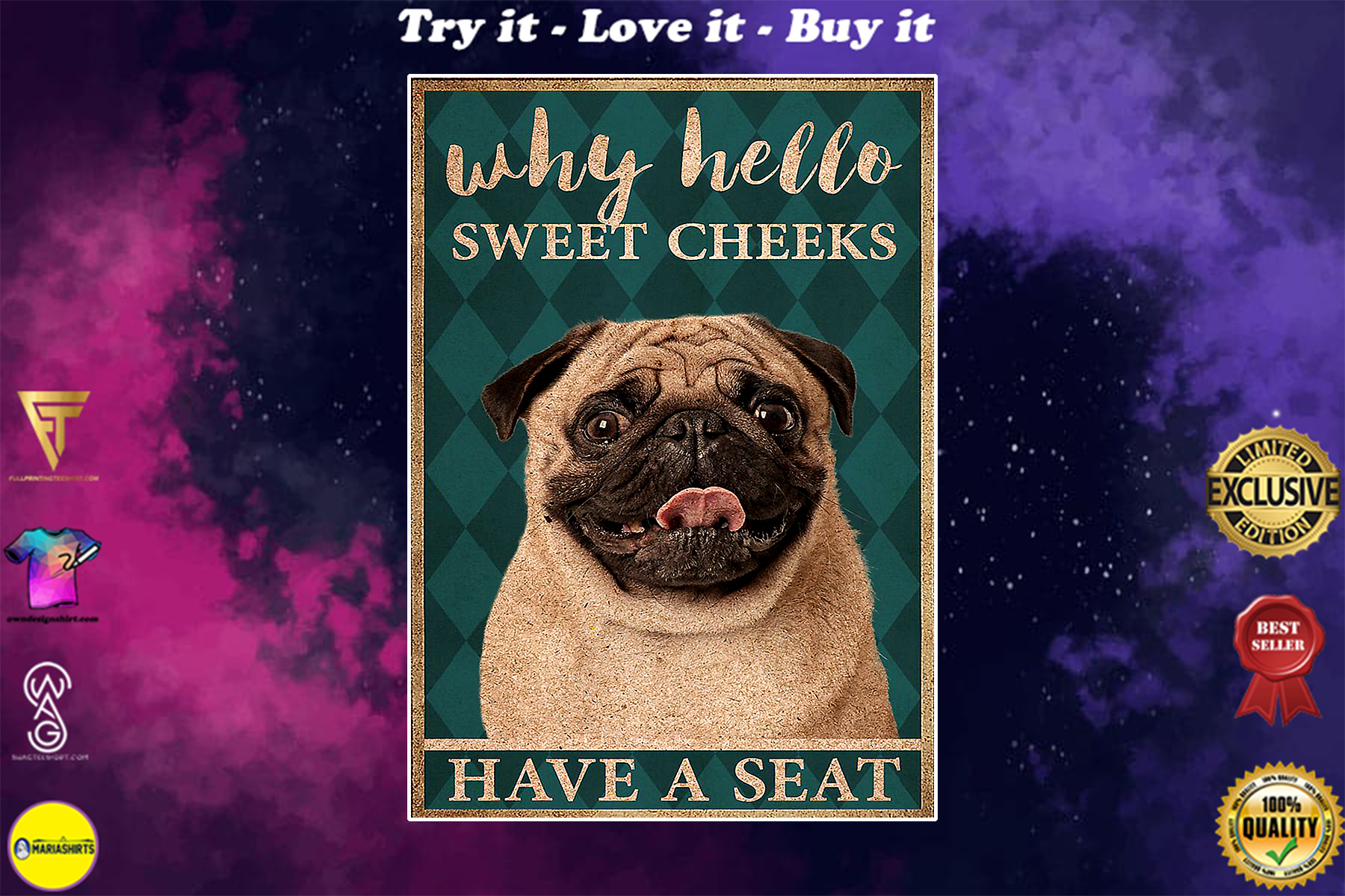 pug why hello sweet cheeks have a seat vintage poster