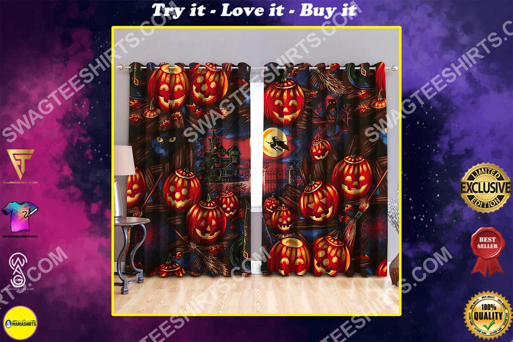 pumpkin castle halloween night all over printed window curtains