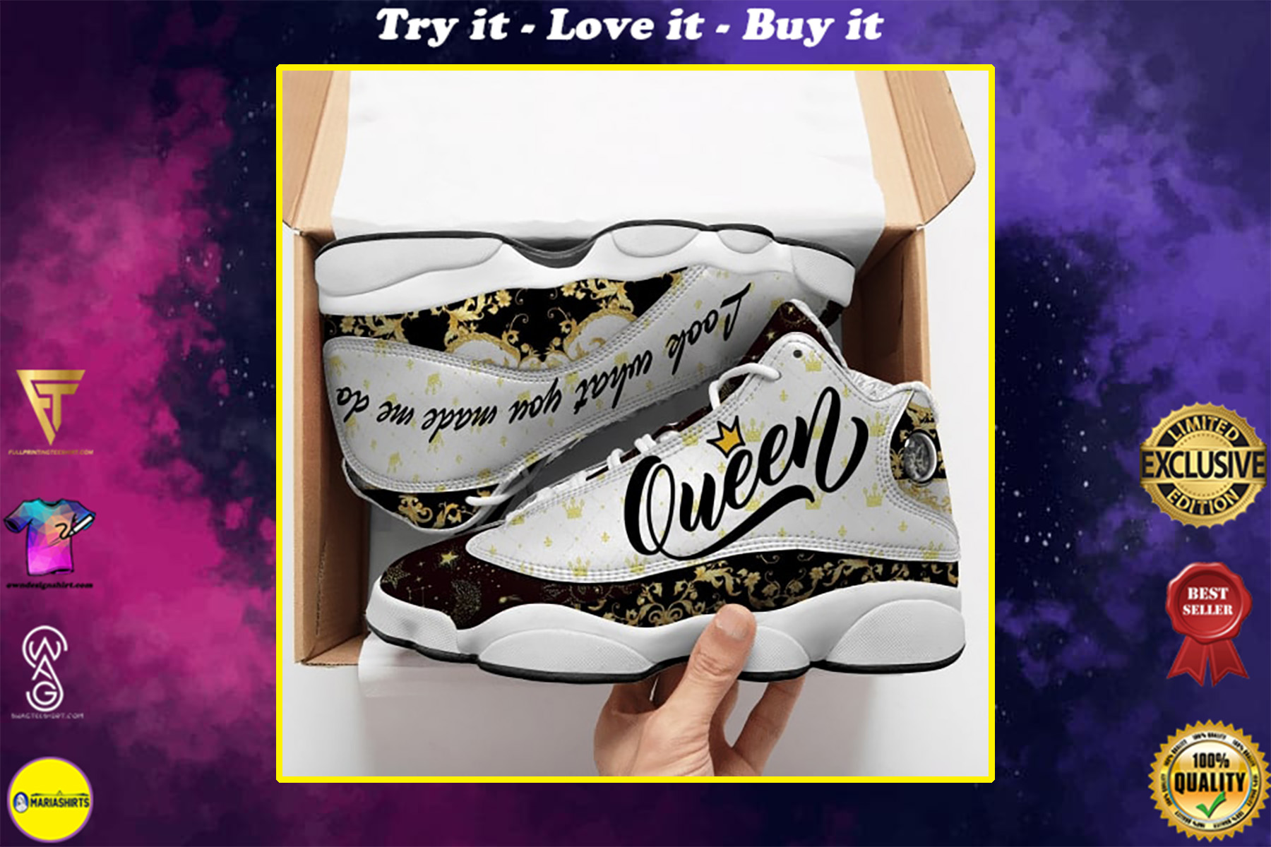 queen look what you made me do all over printed air jordan 13 sneakers