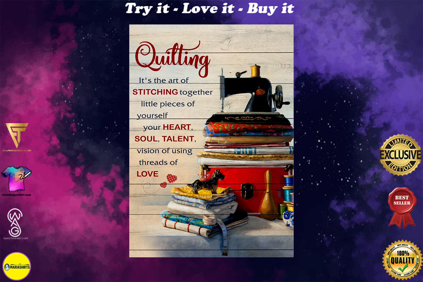 quilting its the art of stitching together vintage poster