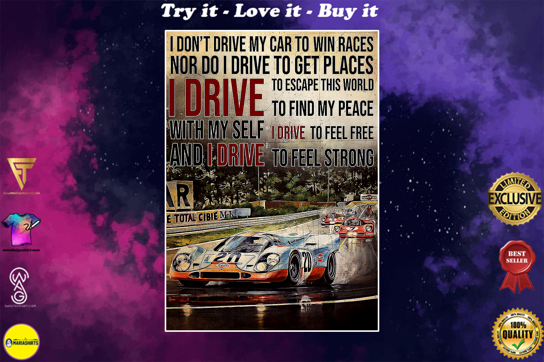 racing formula 1 i drive to feel strong vintage poster