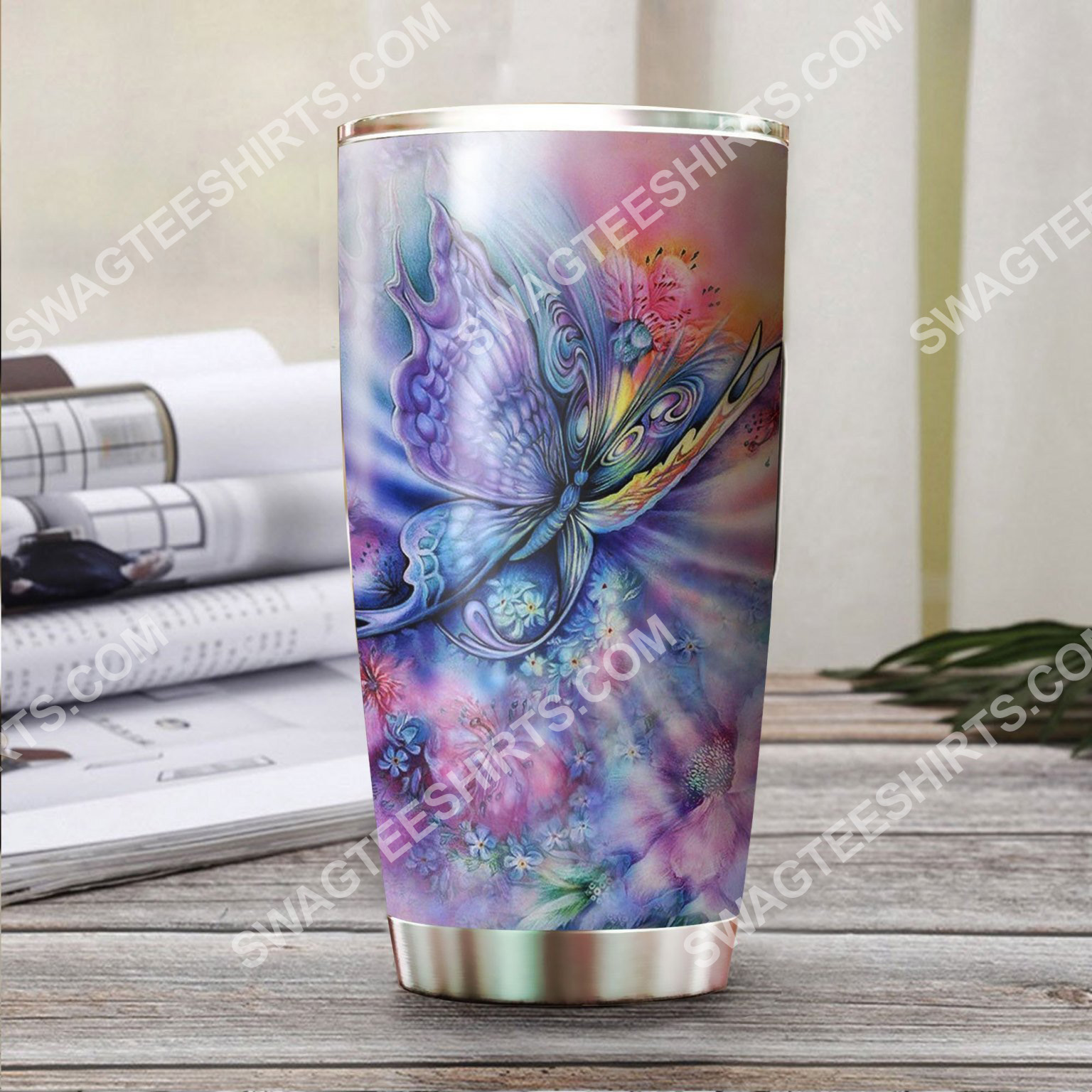 rainbow butterfly all over printed stainless steel tumbler 2(1)