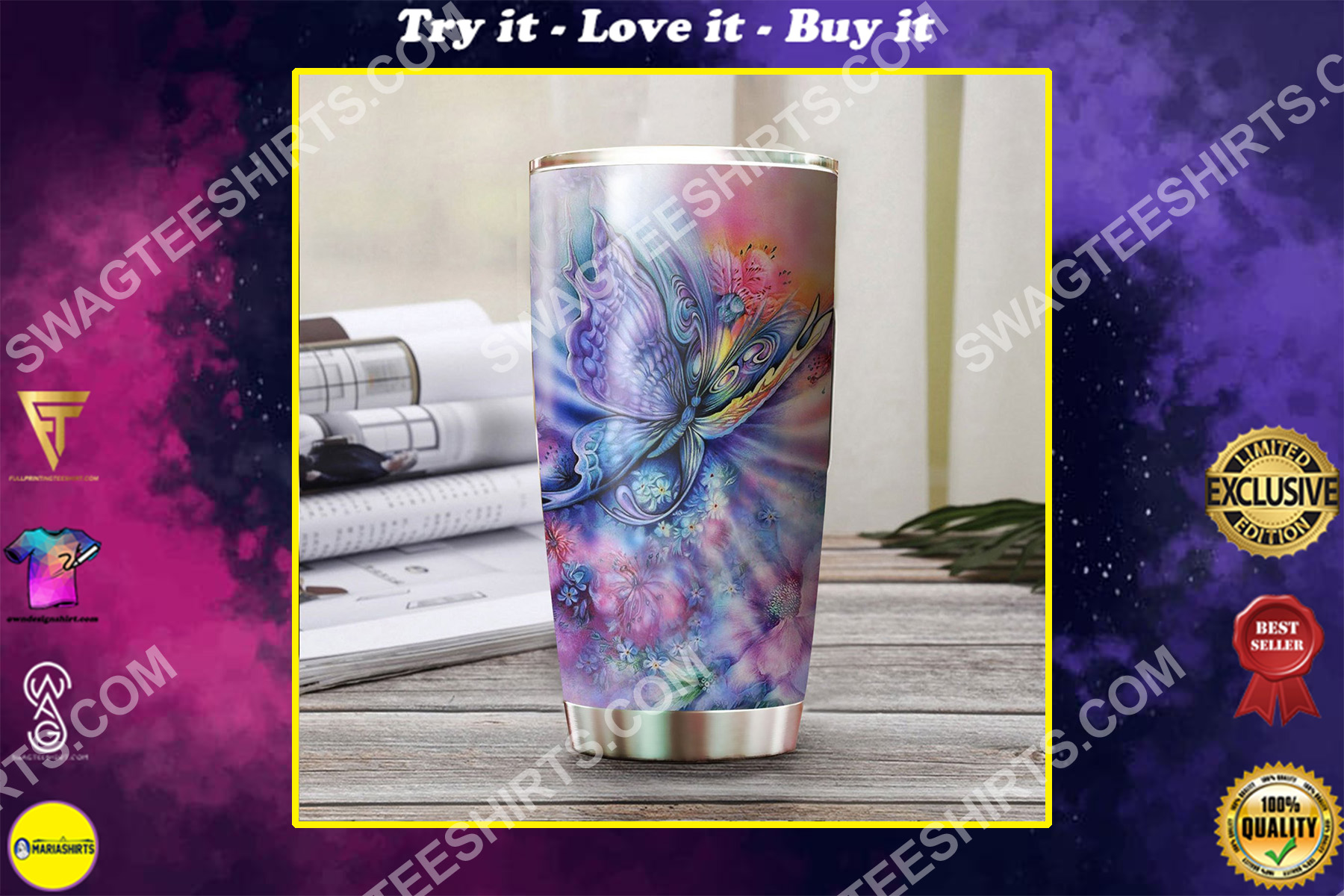 rainbow butterfly all over printed stainless steel tumbler