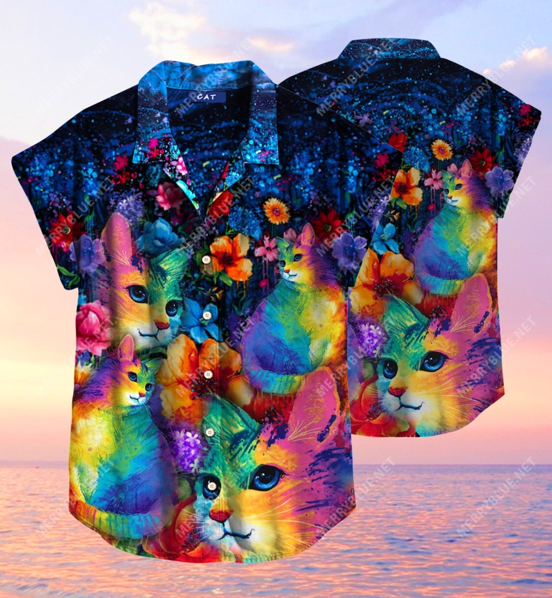 rainbow cats all over printed hawaiian shirt 3