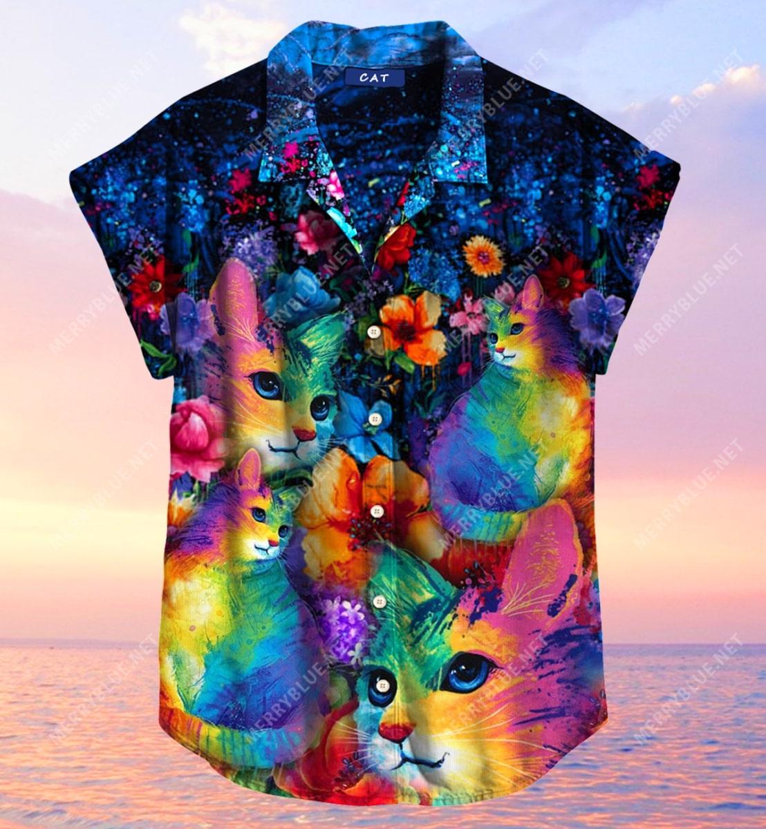 rainbow cats all over printed hawaiian shirt 4