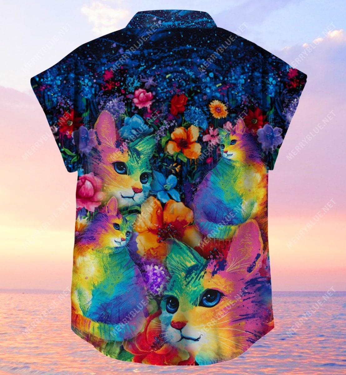 rainbow cats all over printed hawaiian shirt 5