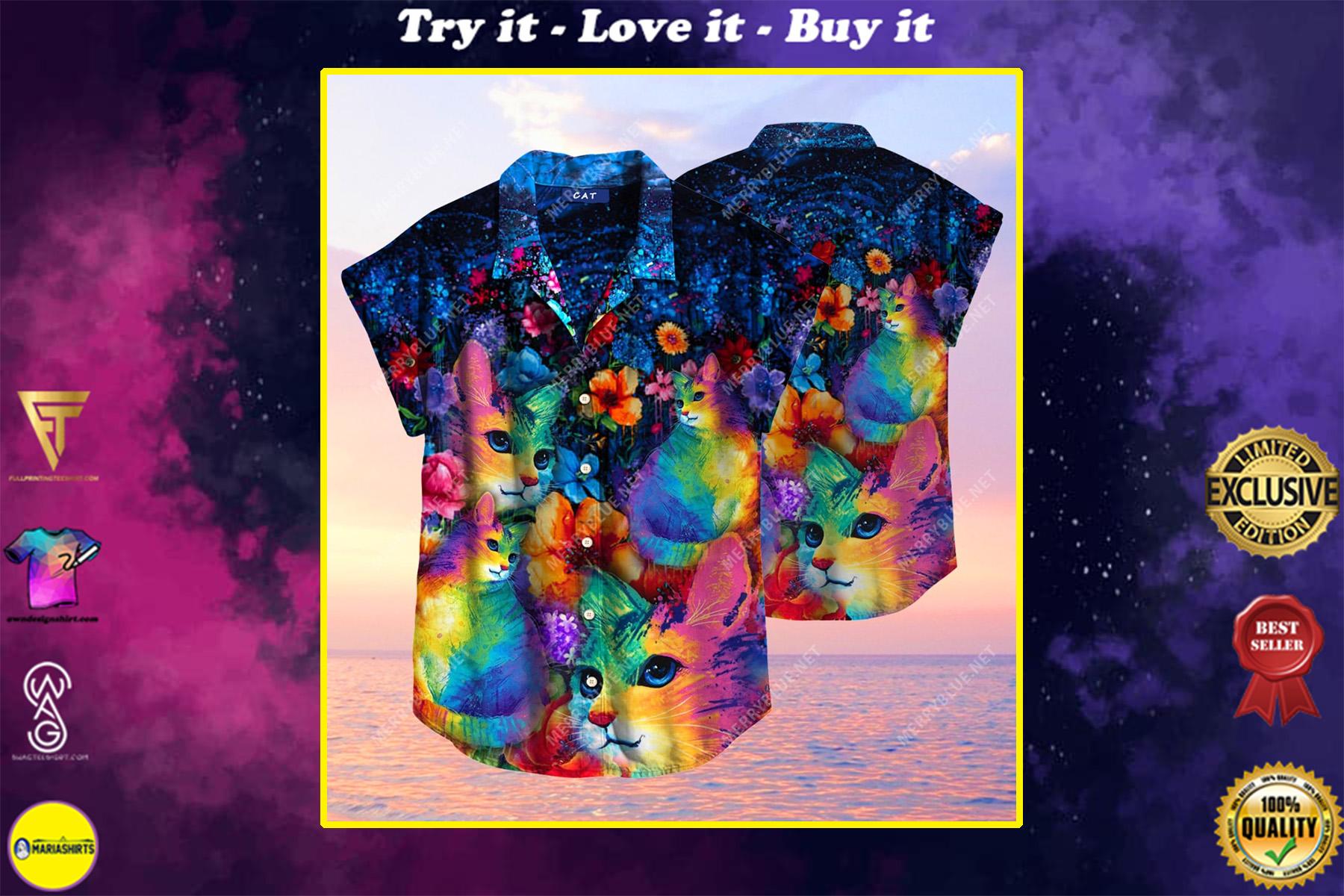 rainbow cats all over printed hawaiian shirt