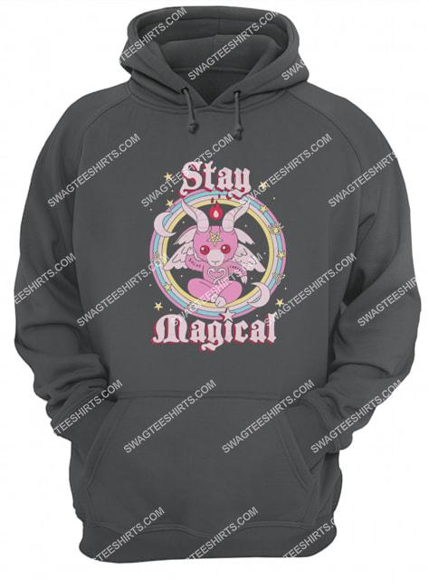 rainbow unicorn stay magical satanic halloween hoodie 1
