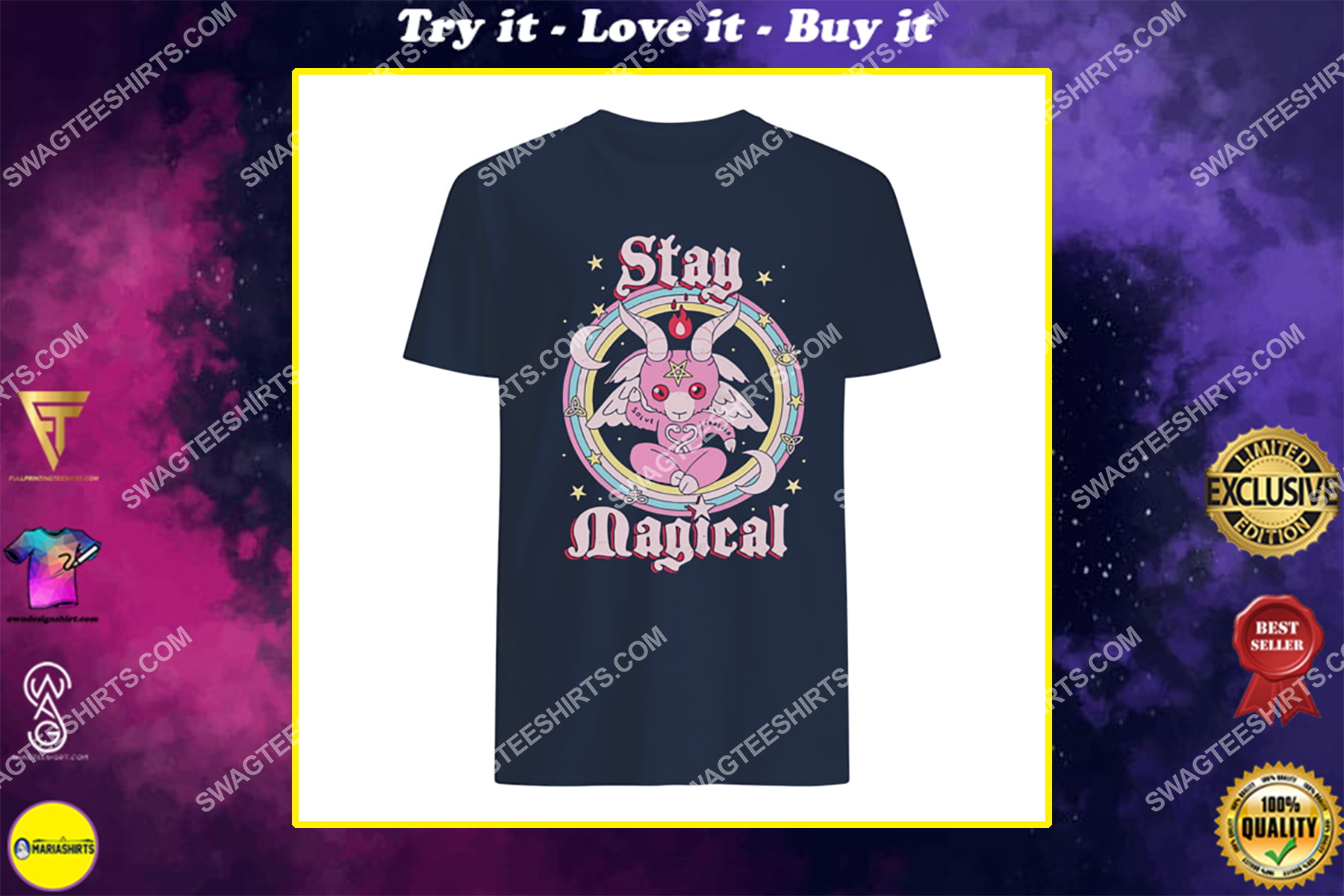 rainbow unicorn stay magical satanic halloween shirt