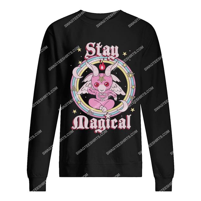 rainbow unicorn stay magical satanic halloween sweatshirt 1