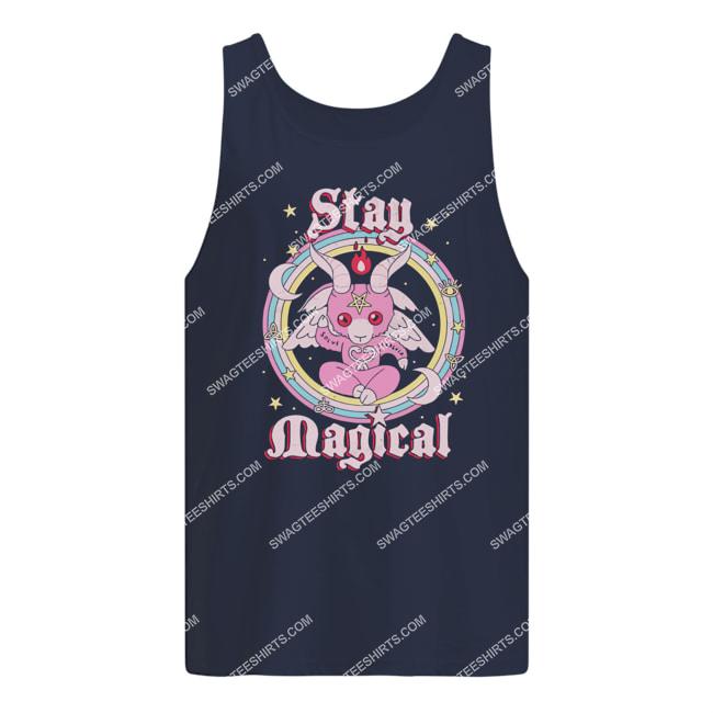 rainbow unicorn stay magical satanic halloween tank top 1