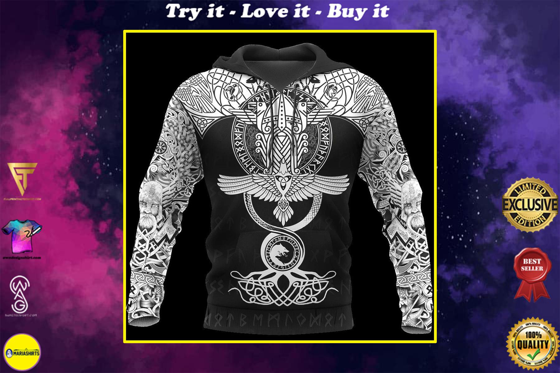 raven of odin viking symbol all over printed shirt