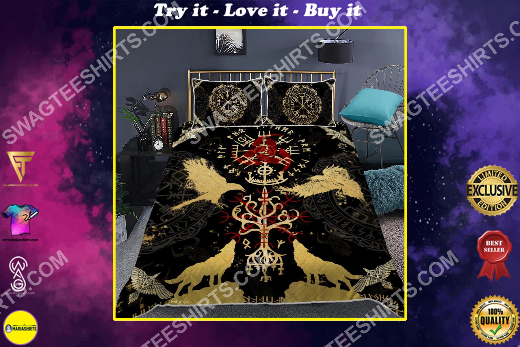 raven viking symbol all over printed bedding set