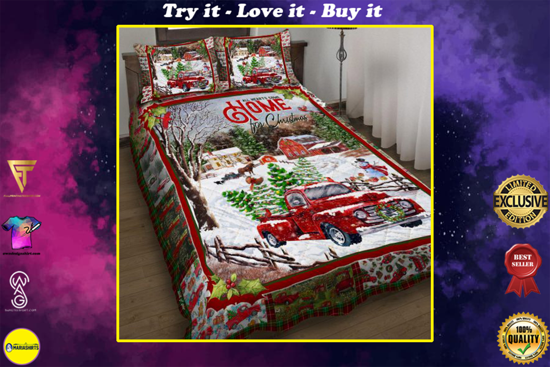 red truck all hearts come home for christmas all over print bedding set