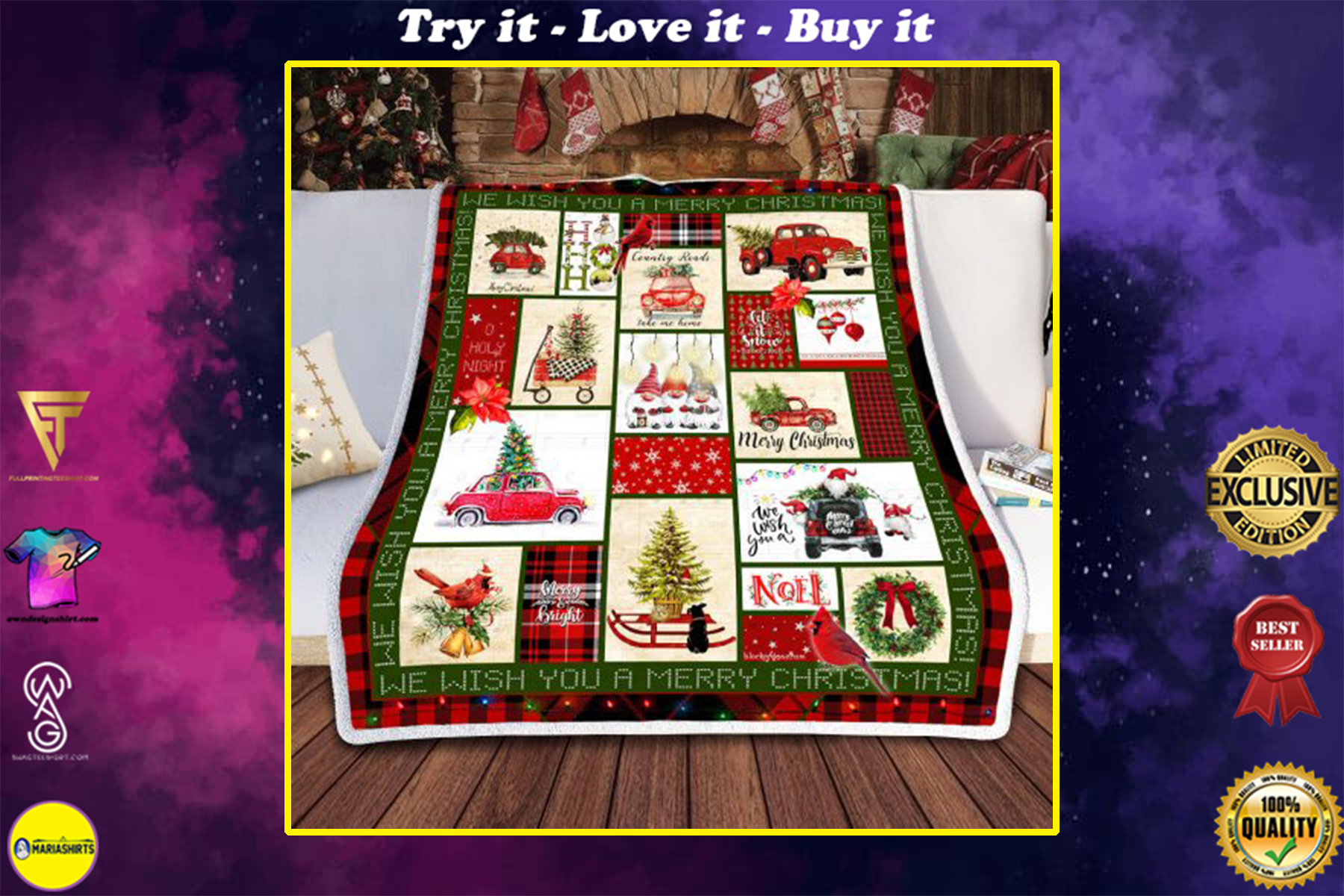 red truck and merry christmas all over print blanket