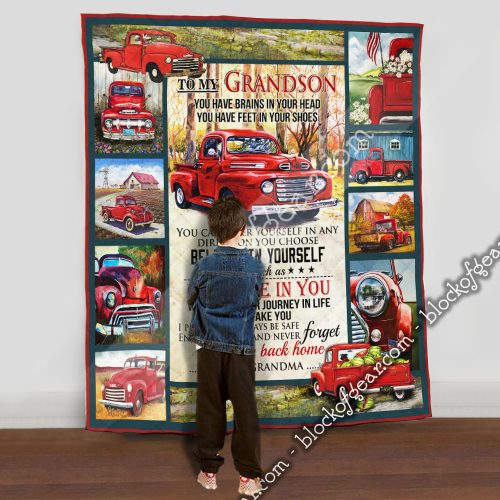 red truck to my grandson i believe in you and never forget your way back home your grandma quilt 5