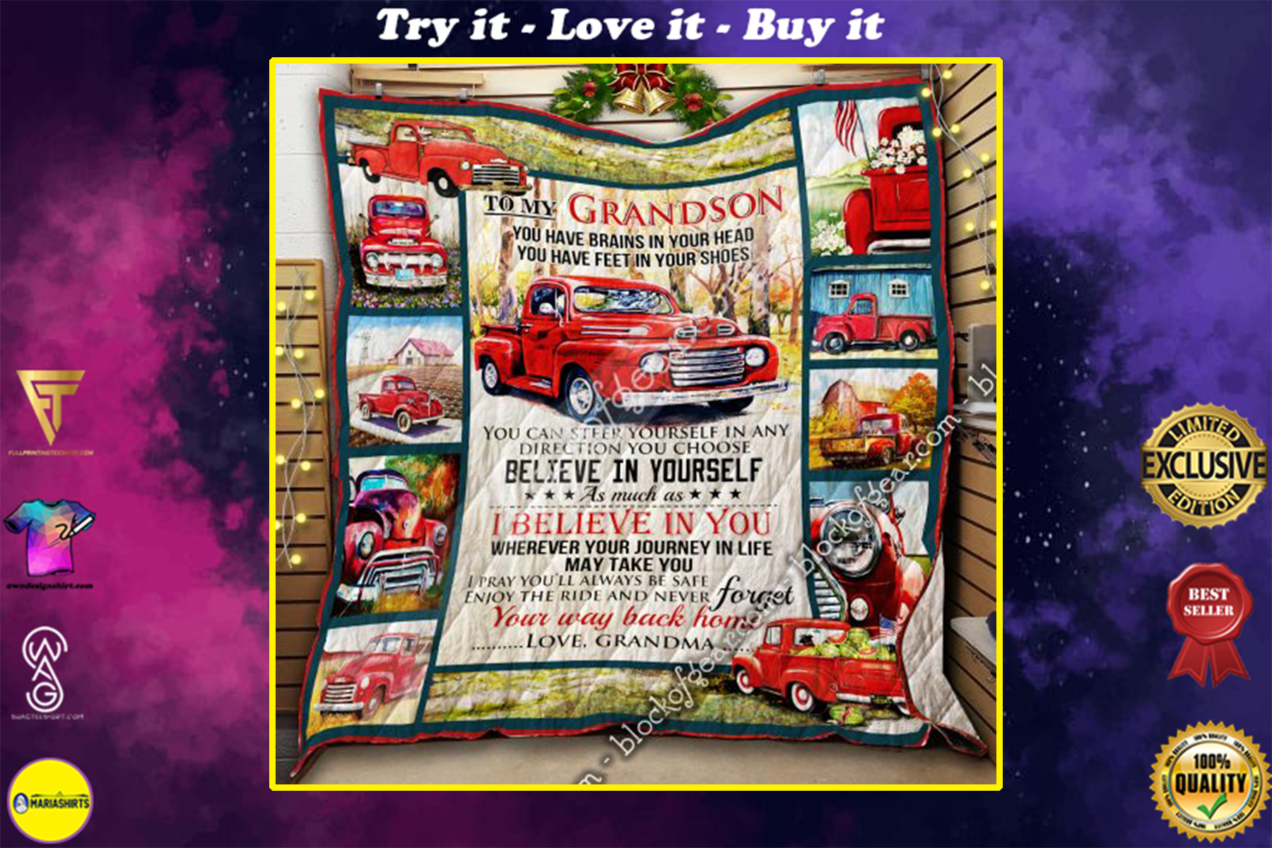 red truck to my grandson i believe in you and never forget your way back home your grandma quilt