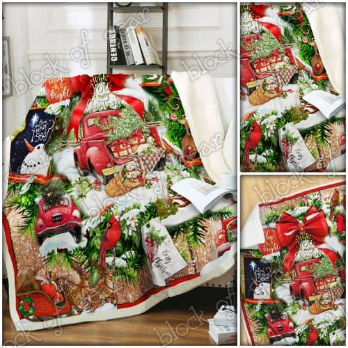 red truck we wish you a merry christmas blanket 4