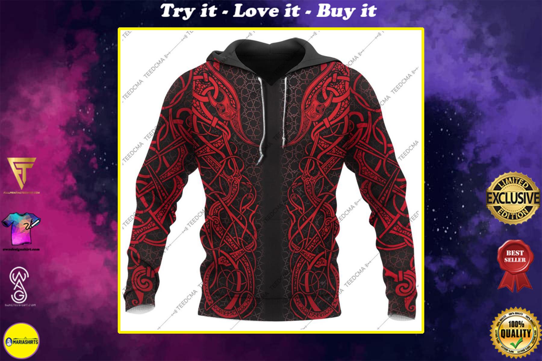 red viking freya all over printed shirt
