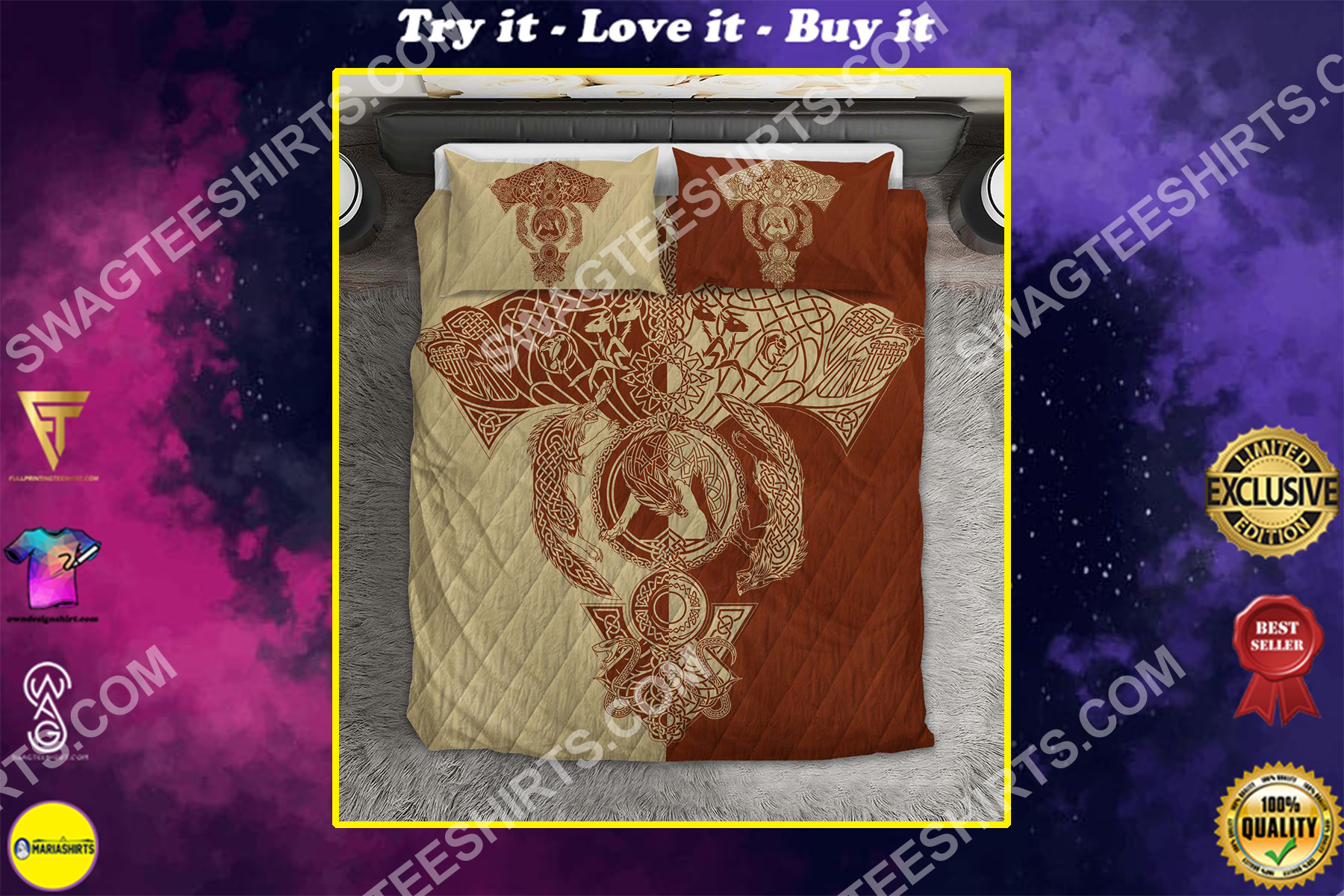 red wolf viking all over printed bedding set